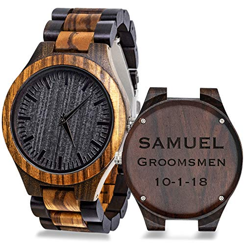 Custom Engraved Mens Wooden Watch, Sandalwood Wood Watch for Men, Groomsmen Gifts with Box Double-Side Engraving