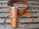 Shotgun Lilli Gun Belt - Natural Color - Plain Belt with Right Hand Smooth Holster Combo - Leather (Natural, 36')