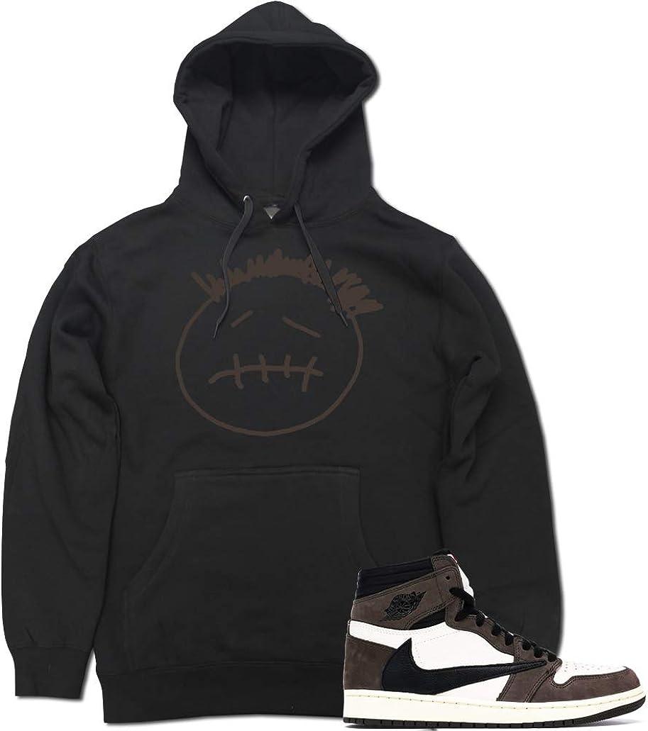 Men's Face Logo AJ1 Face Logo AJ1 Cactus Jack Retro 1 Pullover Hooded Sweater