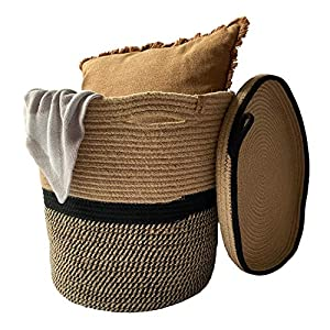 Woven Cotton Rope Basket with Handles with Lid & Inner Compartment Divider – Round Wide Size 15.7 x 15.7 Inch – Decorative Storage Organization Bin for Laundry, Blankets, Toys, Towels – 100% Natural