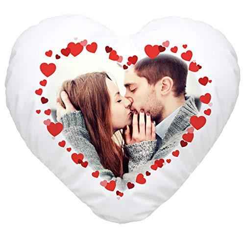 SpecialMe® Herzkissen mit eigenem Foto Herzrahmen, Fotokissen Bedrucken Lassen, personalisierte Geschenke & Liebesgeschenke weiß Herz-Kissen