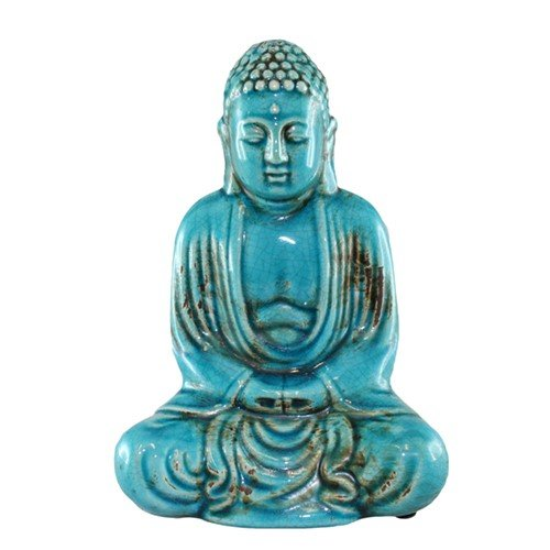 World Buyers DHYANA Buddha Blue 5.5x3.25x7.75 H