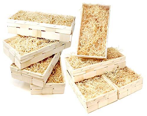 Lashuma 8er Set Rechteckige Flechtkörbe Natur Geschenkbox, Aufbewahrungs Weinkiste inklusive Holzwolle 35 x 18 cm