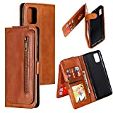 Miagon Multi-Functional Zipper Wallet Case for Samsung Galaxy A31,Magnetic Handbag Dual Folio Leather Stand Flip Case Cover with 9 Card Slots Wrist Strap,Brown