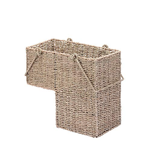 VILLACERA Natural 14-Inch Wicker Stair Case Basket with Handles | Handmade Woven Seagrass Color