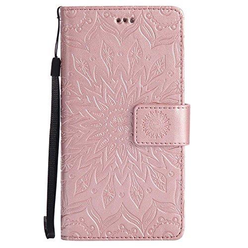 Coque Huawei P8, SONWO Premium PU Cuir Rabat Portefeuille Étui, Gaufrage Chat Arbre Housse avec Fentes de la Carte pour Huawei P8, Or Rose