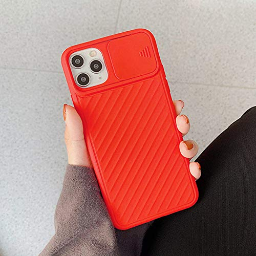 LIUYAWEI Funda Protectora de cámara para teléfono para iPhone 11 Pro MAX X XR XS MAX 7 8 Plus SE 2020 Funda de airbag de Silicona Suave Color Caramelo, Rojo, para iPhone 11