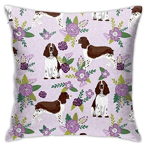 HaiYI-ltd English Springer Spaniel Pet Collection Coordinate Floral Pillow Case Daily Decoration Throw Pillowcase Sofa Bedroom Car Cushion Cover Pillow Cover 18'x 18'