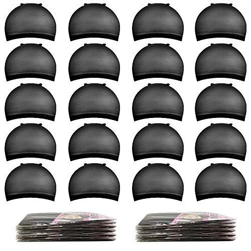 Black Wig Caps,MORGLES 20pcs Black Nylon Stocking Caps For Wigs Stretchy Wig Caps For Women
