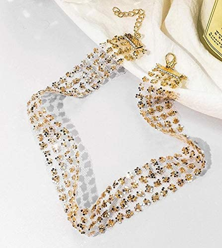 Moonnight Store Sexy Wide Metal Collar Choker Necklaces For Women Shiny Sequins Gauze Mesh Chocker Necklace Statement Nightclub Jewelry (Gold)