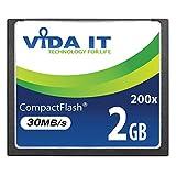 Vida IT 2GB Tarjeta de Memoria Compact Flash CF Alta Velocidad de 200X 30MB/s IDE de 50 Pines para Canon EOS 10D, EOS 20D, EOS 20Da 300D 30D 350D 40D 50D Mark II EOS 7D EOS D30 SLR Cámara