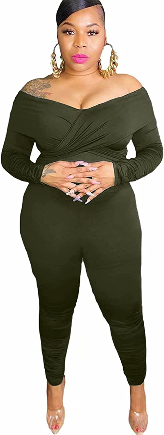OLUOLIN One Piece Jumpsuits for Women Plus Size Rompers Elegant Off The Shoulder Bodycon Jumper High Waist Pants Suits