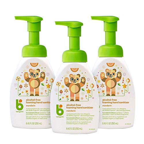 Foaming Pump Hand Sanitizer, Alcohol Free, Mandarin, Kills 99.9% of Germs, 8.45oz- Babyganics Pack of 3
