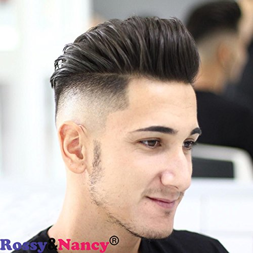 Rossy&Nancy Best European Remy Human Hair Man Toupee Short Natural Black Replacement Hair Pieces Wigs for Men