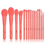 BEILI Makeup Brushes ,Premium Coral 15pcs Make Up Brushes ,Synthetic Hair Foundation Highlight Powder Blusher Eyeshadow Eyebrow Vegan Makeup Brush Set tool Kit
