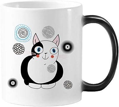 動物のペットの恋人の漫画のかわいい猫のイラストを色を変えて熱に敏感なモーフィングマグカップギフトミルクコーヒーを扱う350 mlで守る