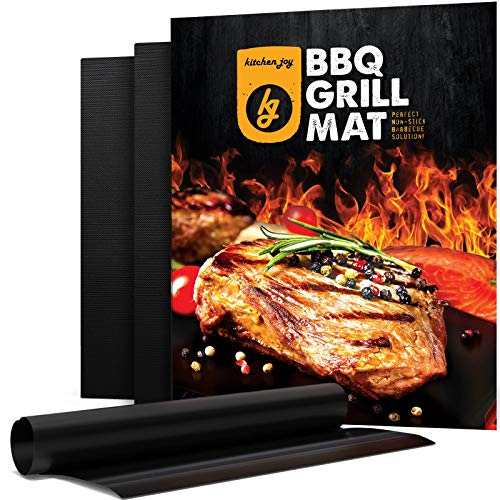 Kitchen Joy BBQ Grill Mat, Set of 3 Non-Stick, Reusable Grill Sheets, Barbecue Accessory for Gas, Charcoal, Outdoor Grills - Easy to Clean and Nonstick for a Magic Barbeque
