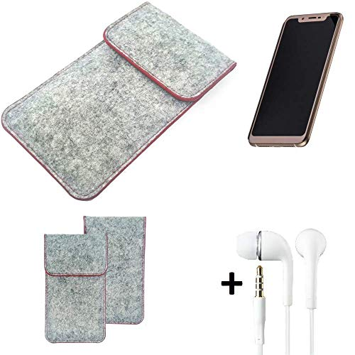 K-S-Trade Handy Schutz Hülle Für Doogee V Schutzhülle Handyhülle Filztasche Pouch Tasche Hülle Sleeve Filzhülle Hellgrau Roter Rand + Kopfhörer