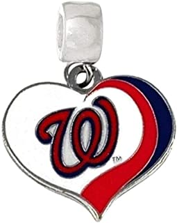 "WASHINGTON NATIONALS BASEBALL CHARM 3/4"" ACROSS X 3/4"" IN LENGTH TEAM HEART SLIDER PENDANT FOR YOUR NECKLACE EUROPEAN CHAR..."