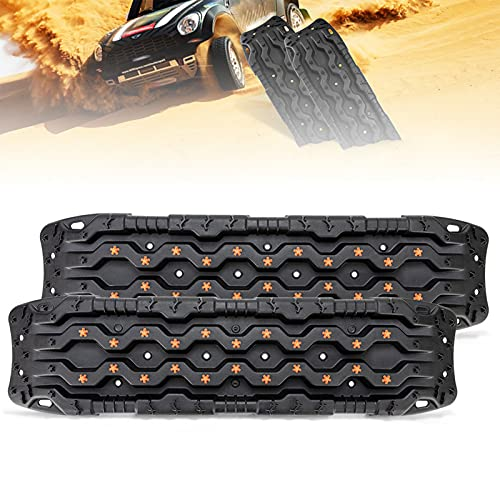 DFFng Traction Boards for Off-Road Truck, Cars, Sand, Snow, Mud, Recovery Traction Mats for Tire Traction Track Tool & Vehicle Extraction with Carrying Bag, 2 Pcs, Black