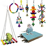 Deloky 8 Packs Bird Swing Chewing Toys- Parrot Hammock Bell Toys Suitable for Small Parakeets, Cockatiels, Conures, Finches,Budgie,Macaws, Parrots, Love Birds