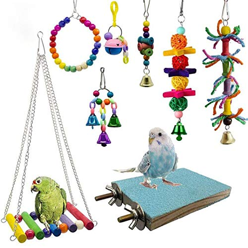 Deloky 8 Packs Bird Swing Chewing Toys- Parrot Hammock Bell Toys Suitable for Small Parakeets,...