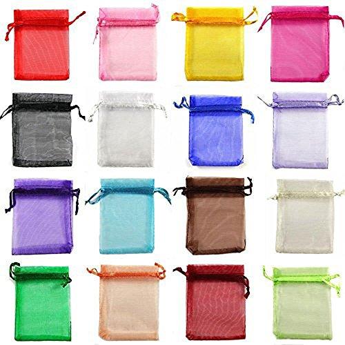 yueton Organza-Säckchen mit Kordelzug, verschiedene Farben, für Süßigkeiten, Schmuck, Party, Hochzeit, Geschenke, 8,9 x 10,5 cm