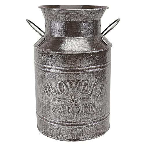DOITOOL Vintage Metal Flower Vase Green Flower Pot Indoor Galvanized Arranging Flower Vase Vintage Metal Milk Bucket Pail Pot Planter Rustic Container