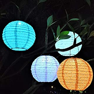 ExcMark Solar Lanterns Outdoor Hanging, Solar Lights Outdoor Decorative, Nylon Chinese Hanging Lanterns for Home and Garden Decoration, Parties Weddings and Holiday Decor. 10 inches, Set of 4 Colors.