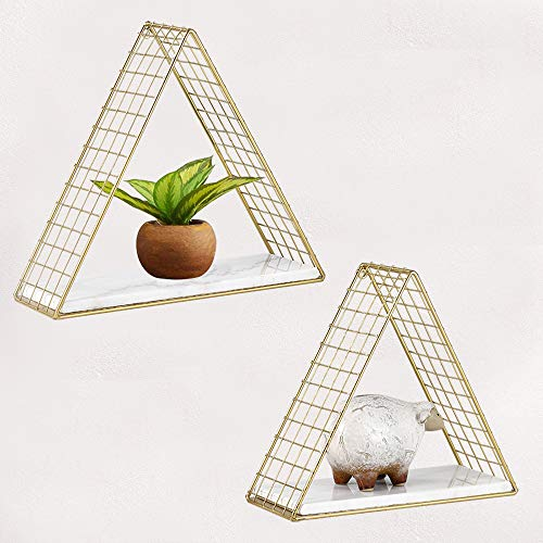 MOCOME Gold Triangle Floating Shelves with Real White Marble, Decorative Mid Century Metal Wire Wall Shelf Set of 2, Wall Mounted Modern Storage Organizer
