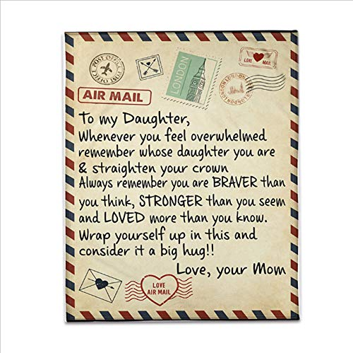 Asweeting to My Daughter from Mum Blanket,Everyday That You\'re not with Me I Think of You Best Gift for Daughter from Mom, Great for Birthday Christmas Thanksgiving Graduation (Style A)