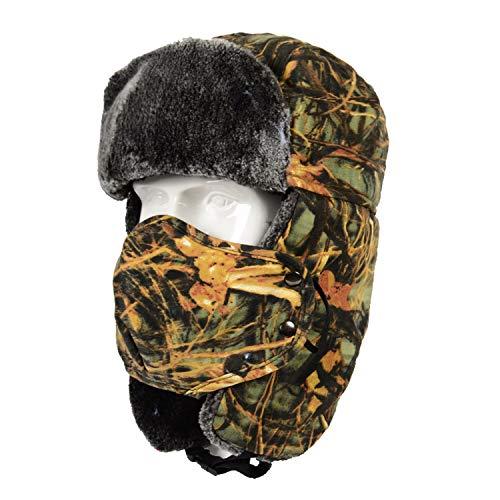 TAGVO Sombrero Trampero Camuflaje Invierno, Gorros de Aviador, Sombrero de Orejera Bombarderocon Prueba Viento Máscara, Sombrero de Caza Unisex para Esquiar Actividades Deportivas al Aire Libr
