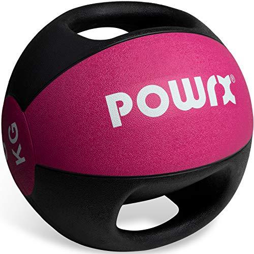 POWRX Balón Medicinal con Asas 6 kg - Ideal para Ejercicios de »Functional Fitness«, fortalecimiento Muscular y rehabilitación + PDF Workout (Pink)