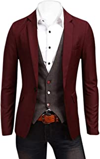 ZongSen Men's Long Sleeve Single Breasted Slim Suit Jacket Blazer