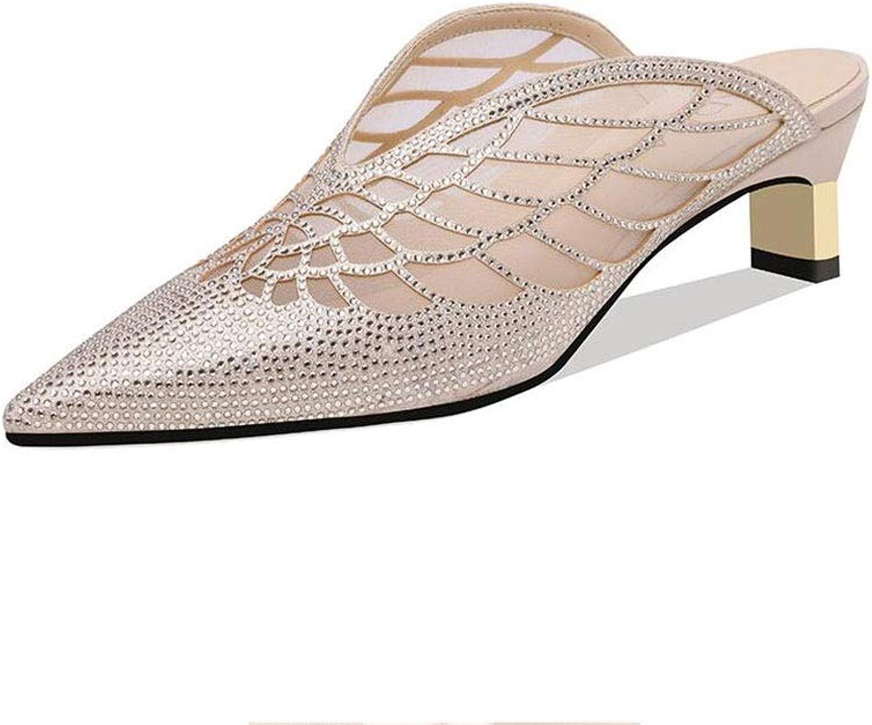 DALL Schuhe Sandalen Frauen Fashion Fashion Small Frisch Spitzschuh Sommer Strass Dicke Fersenschuhe (Farbe   Gold, Größe   EU 37 UK 4.5-5 CN37)  Bestellen Sie jetzt mit großem Rabatt und kostenlosem Versand