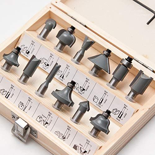 Fräser Set 12-teilig für Elektro Oberfräsen mit Schaft 8 mm, Hartmetall