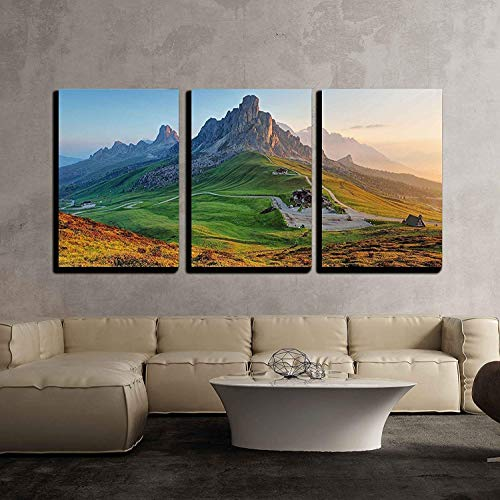"""wall26 - 3 Piece Canvas Wall Art - Dolomites Landscape - Modern Home Decor Stretched and Framed Ready to Hang - 16""""x24""""x3 Panels"""