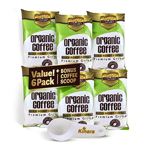 Organic Coffee Enema Coffee Gold Coffee Enema Organic by S A Wilson Enema Coffee 6- Pack with Kinara Coffee Scoop