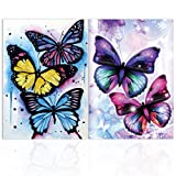 2 Piezas DIY 5D Mariposa Diamante Pintura por Número Kit,MWOOT Butterfly Bricolaje Diamond Painting Rhinestone Bordado de Punto de Cruz Artes Manualidades Lienzo Pared Decoración (30x40cm)