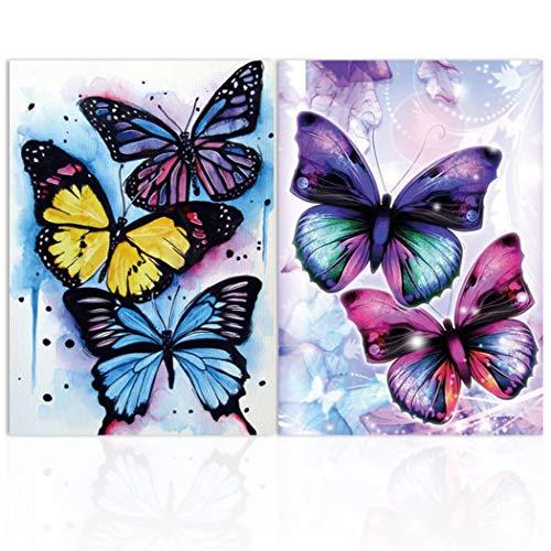 2 Piezas DIY 5D Mariposa Diamante Pintura por Número Kit,MWOOT Butterfly Bricolaje Diamond Painting Rhinestone Bordado de Punto de Cruz Artes Manualidades Lienzo Pared Decoración (30x40cm)