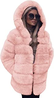 Womens Faux Fur Cardigan Coat Tops,Casual Winter Warm Solid Long Luxury Hooded Overcoat