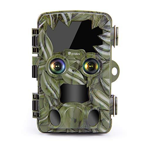 Ctronics Wildkamera 4K 20MP Dual-Kameras mit Starlight Nachtsicht Bewegungsmelder 0,1s Schnelle Trigger Jagdkamera 120° Erfassungswinkel Wildtierkamera, Unterstützt 512GB SD-Karte, IP66 Wasserdicht