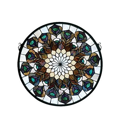 """Meyda Home Decorative 17""""W x 17""""H Tiffany Peacock Feather Medallion Stained Glass Window"""