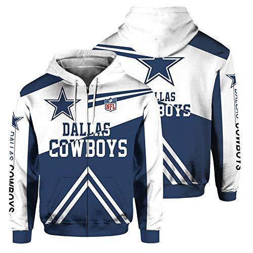 JKAINI Hombres Sudadera con Capucha De La Cremallera con Capucha - NFL Dallas Cowboys Football Fan De Deporte De Manga Larga con Capucha De La Chaqueta White + Dark Blue-XXL