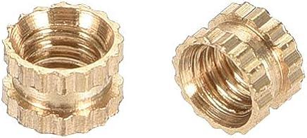 Pack of 150 uxcell Knurled Threaded Insert M3 x 5mm L x 5.4mm OD Female Thread Brass Embedment Nuts