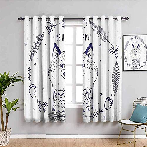 MENGBB Blickdicht Vorhang Kinderzimmer Mikrofaser - Einfach Tier Fuchs Cartoon - Ösen 90% Blickdicht Gardinen - 110x140cm Mädchen Junge Schlafzimmer Wohnzimmer dekorativ
