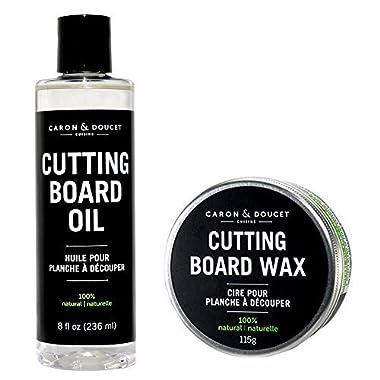 Caron & Doucet - Cutting Board & Butcher Block Bundle: 2 items - 1 Cutting Board & Butcher Block Oil, 1 Cutting Board & Butcher Block Wax. 100% Plant Based (8oz Bullet)