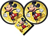 Mickey Mouse Party Supplies Bundle with Cake Plates and Napkins for 16 Guests