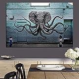 PLjVU Mural de Criatura de Pulpo Elefante Mixto Pintura Pop Art en el Lienzo Animal Imagen de la Pared impresión Sala de Estar decoración-Sin marco50X67cm