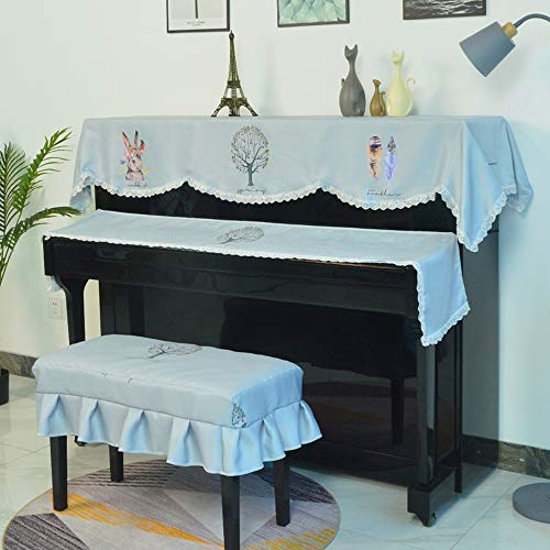 Piano Drie stuks afdekking keyboard kruk stofdichte druk lace-doek kunst envelop envelop
